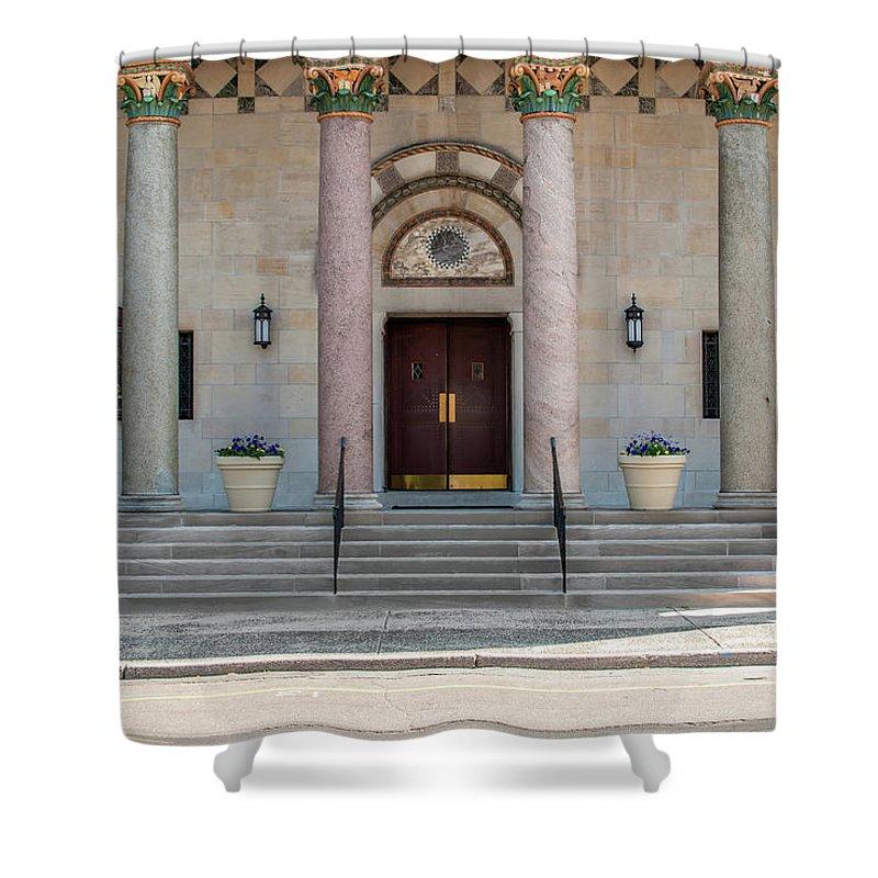 Pillars Shower Curtain featuring the photograph Church Doors by Len Tauro