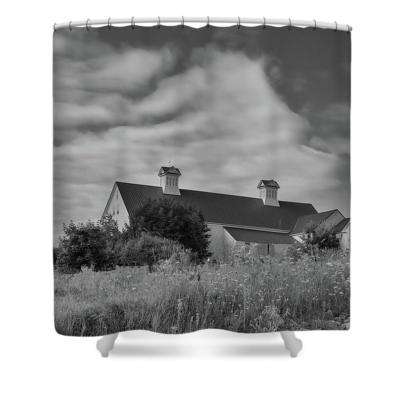 Grange Shower Curtain featuring the photograph Church Hill Road Barn by Guy Whiteley