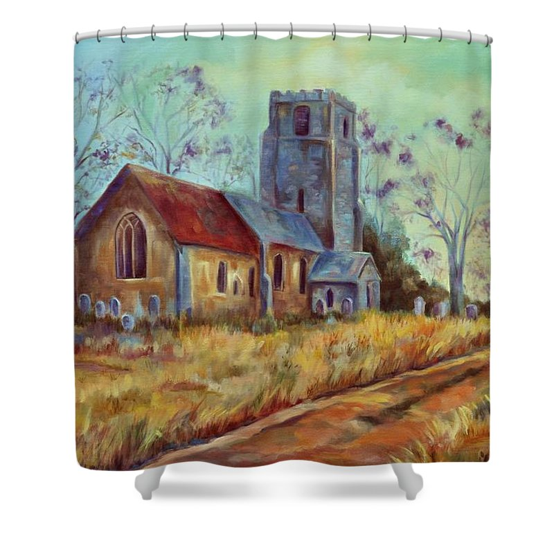 English Churches Shower Curtain featuring the painting Church in Suffolk by Ginger Concepcion