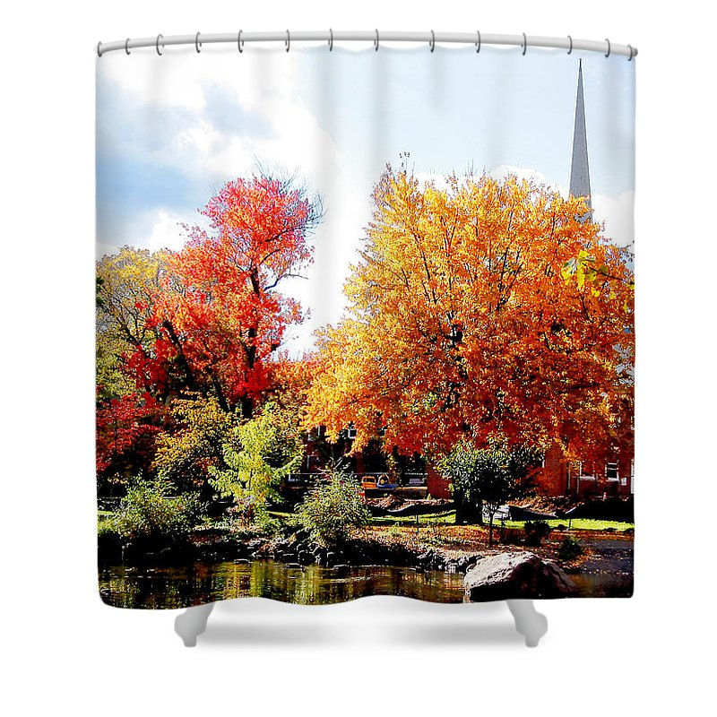 Autumn Shower Curtain featuring the photograph Church In The Distance In Autumn by Susan Savad
