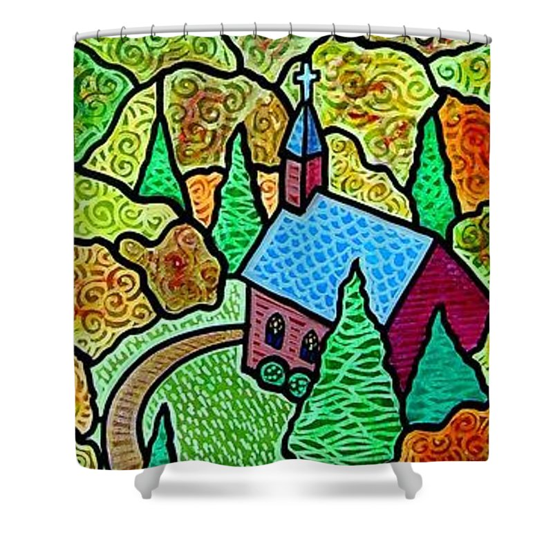 Church Shower Curtain featuring the painting Church In The Wildwood by Jim Harris