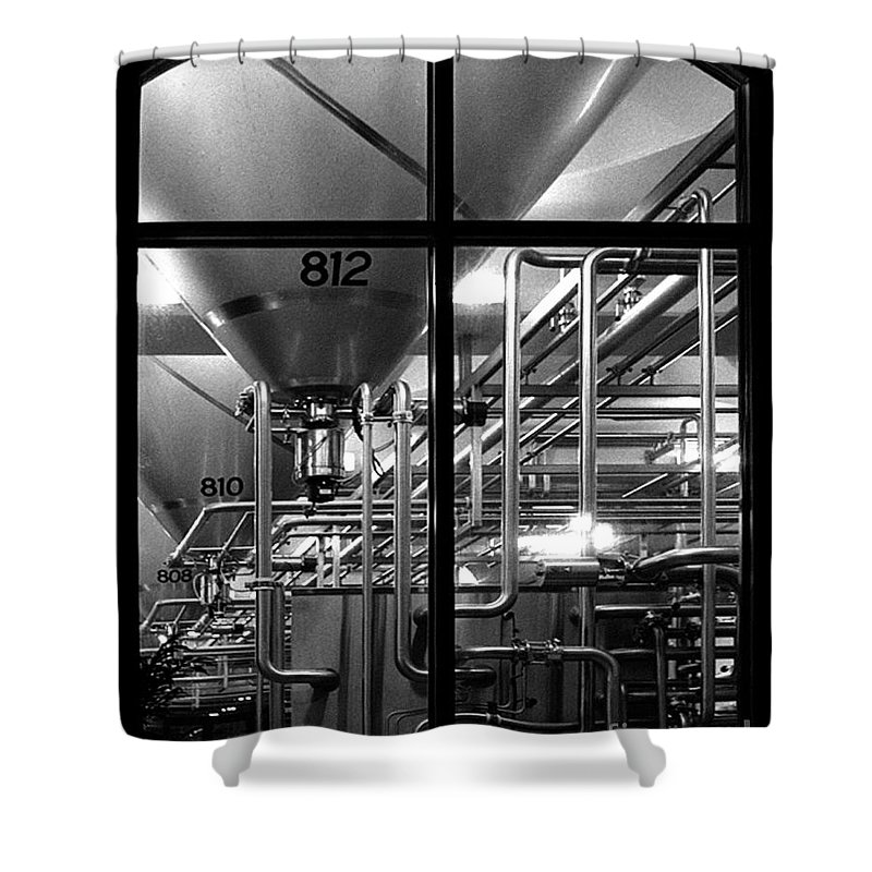 Black And White Shower Curtain featuring the photograph Church Of Modern Man by Peter Piatt