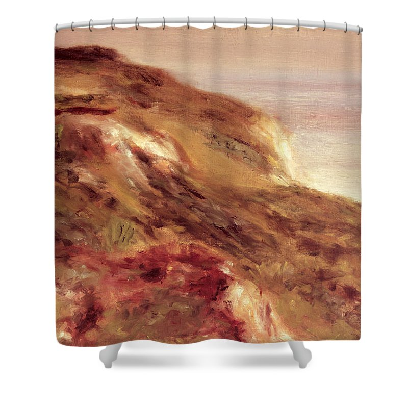 Renoir Shower Curtain featuring the painting Church On A Clifftop by Pierre Auguste Renoir