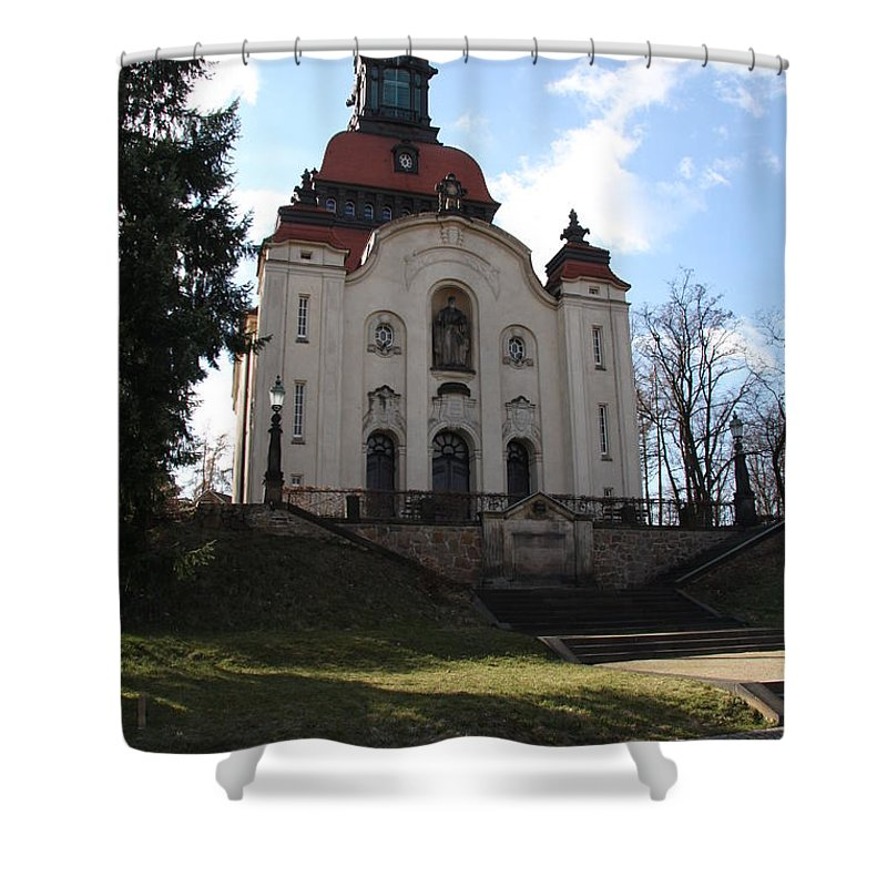 Church Shower Curtain featuring the photograph Church On The Hill by Christiane Schulze Art And Photography