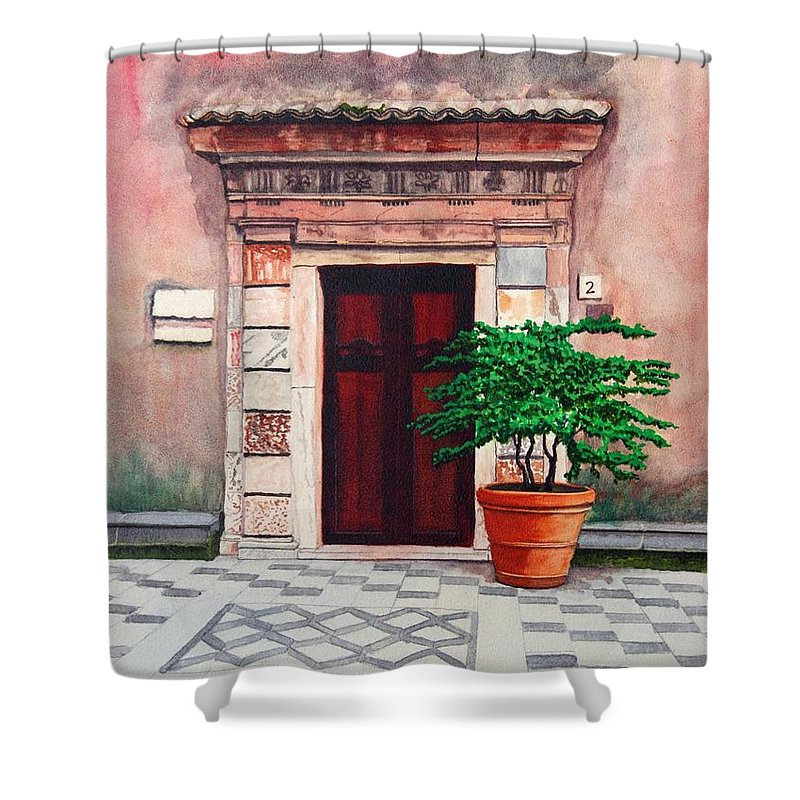 Church Shower Curtain featuring the painting Church Side Door - Taormina Sicily by Mike Robles