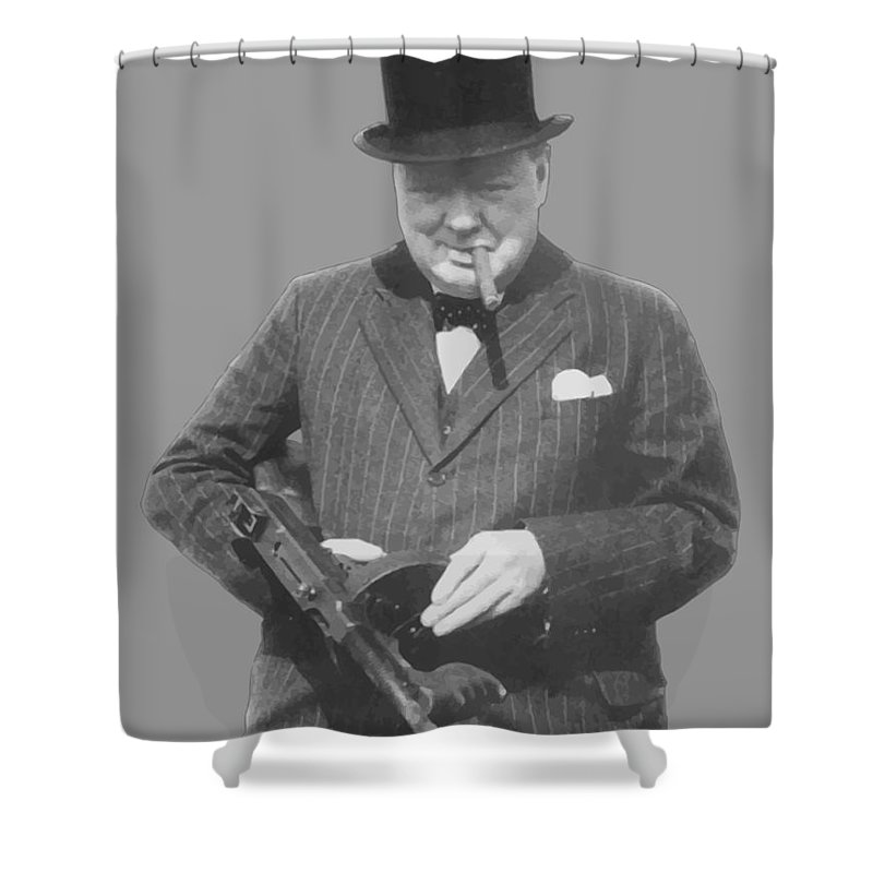 Winston Churchill Shower Curtain featuring the painting Churchill Posing With A Tommy Gun by War Is Hell Store
