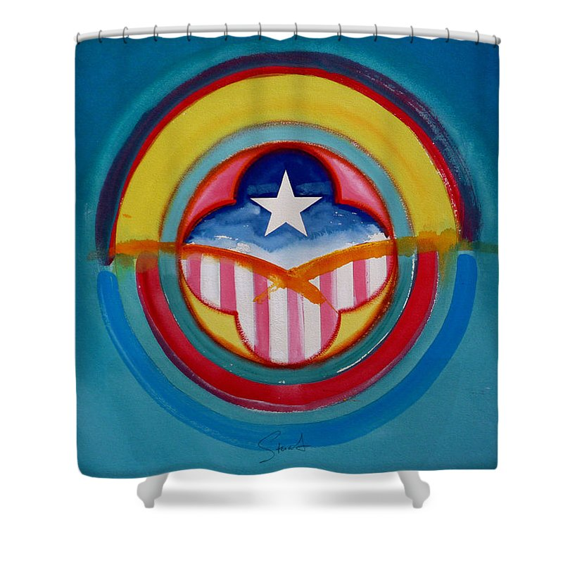 Button Shower Curtain featuring the painting CIA by Charles Stuart