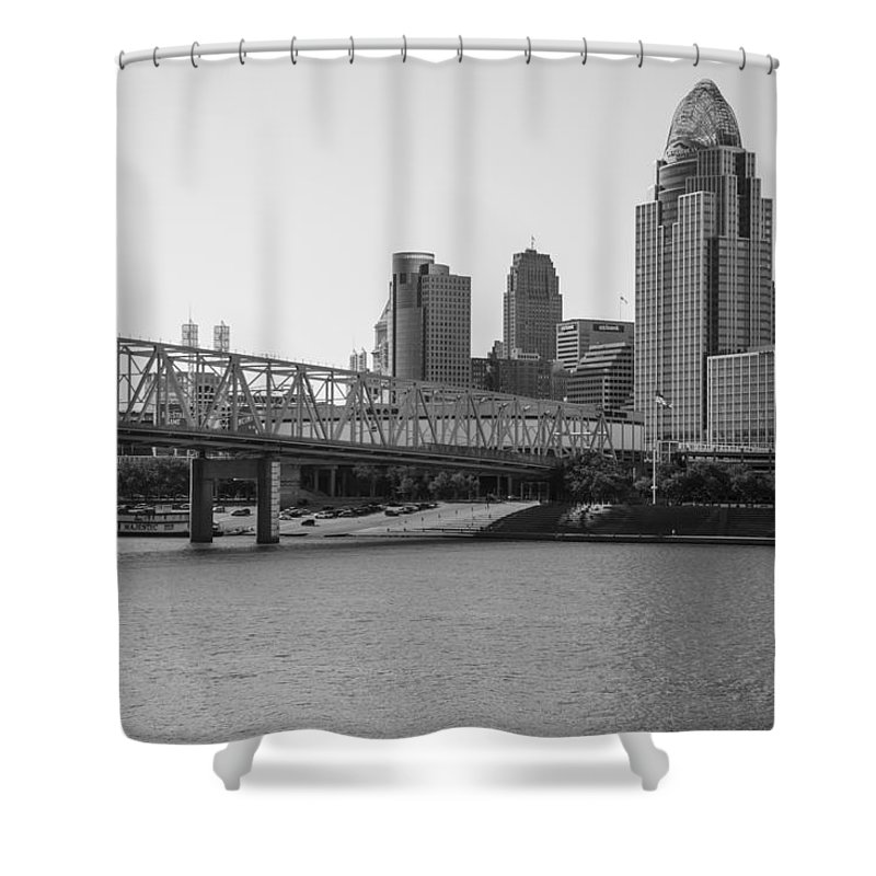 Cincinnati Shower Curtain featuring the photograph Cincinnati And Bridge Black And White by John McGraw