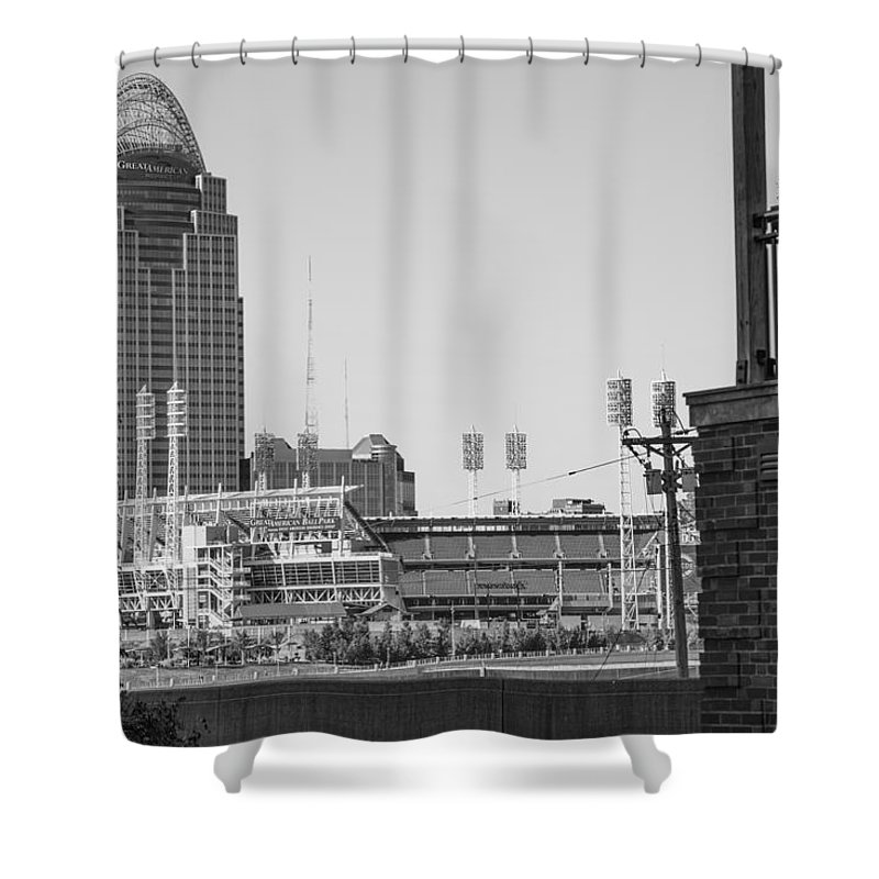 Cincinnati Shower Curtain featuring the photograph Cincinnati And Building by John McGraw