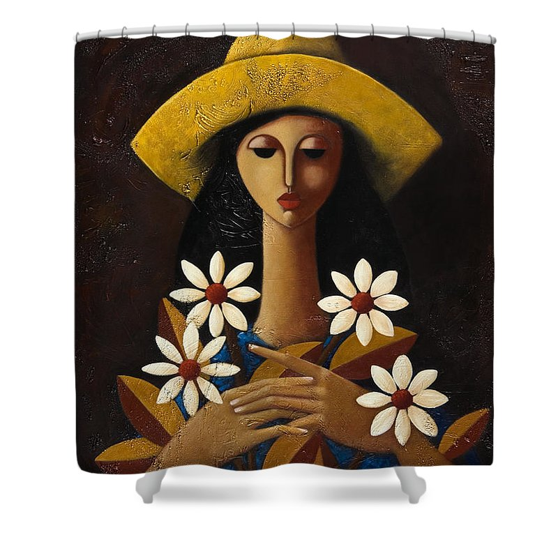 Puerto Rico Shower Curtain featuring the painting Cinco Margaritas by Oscar Ortiz