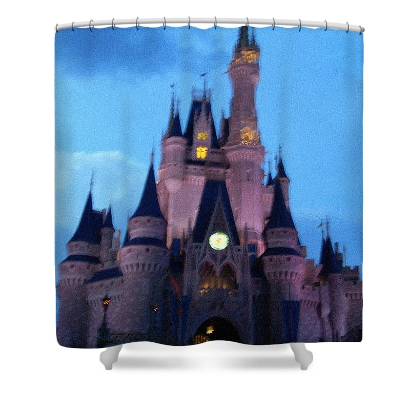 Disney Shower Curtain featuring the painting Cinderella Castle by April Patterson