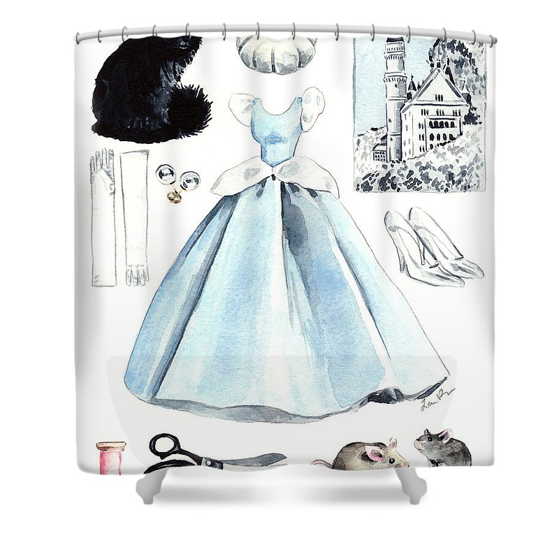 Cinderella Shower Curtain Featuring The Painting Disney Princess Collage Castle Glass Slippers Mouse Pumpkin Cat