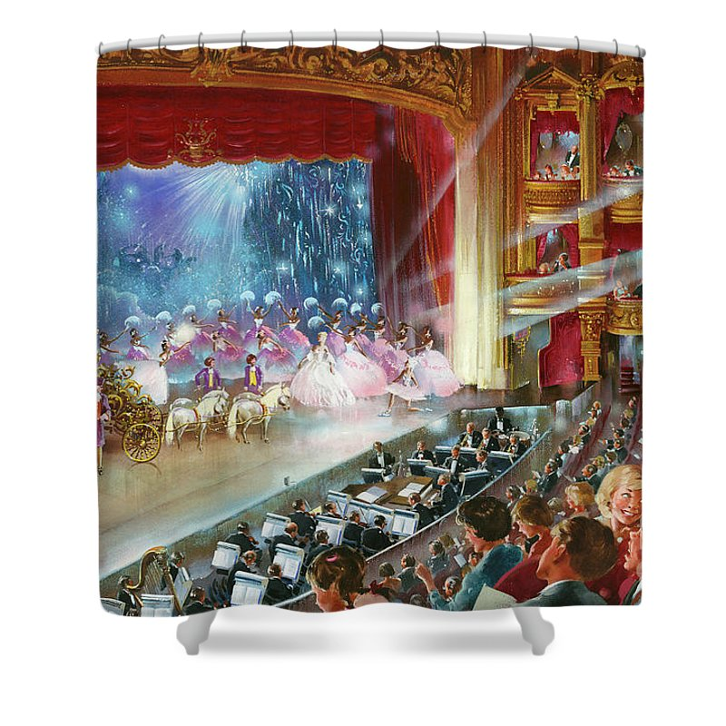 Panto Shower Curtain Featuring The Painting Cinderella By John Worsley