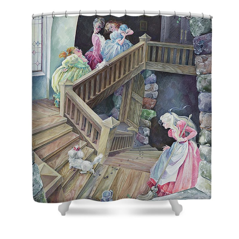 Disney Shower Curtain Featuring The Painting Cinderella Home By Larisa Yerastova