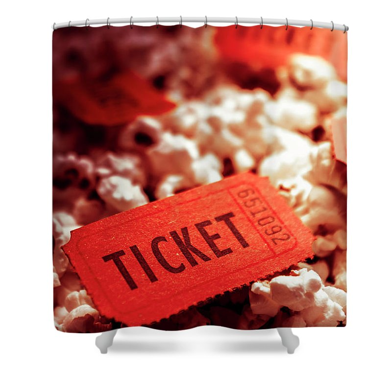 Performance Shower Curtain featuring the photograph Cinema Ticket On Snackbar Food by Jorgo Photography - Wall Art Gallery