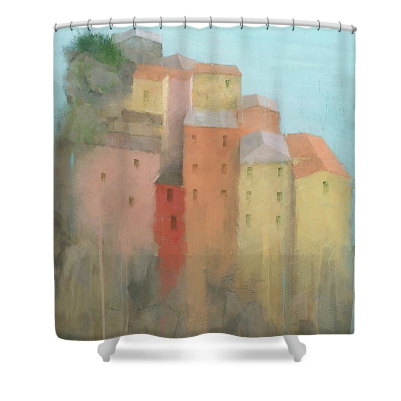 Art Shower Curtain featuring the painting Cinque Terre by Steve Mitchell