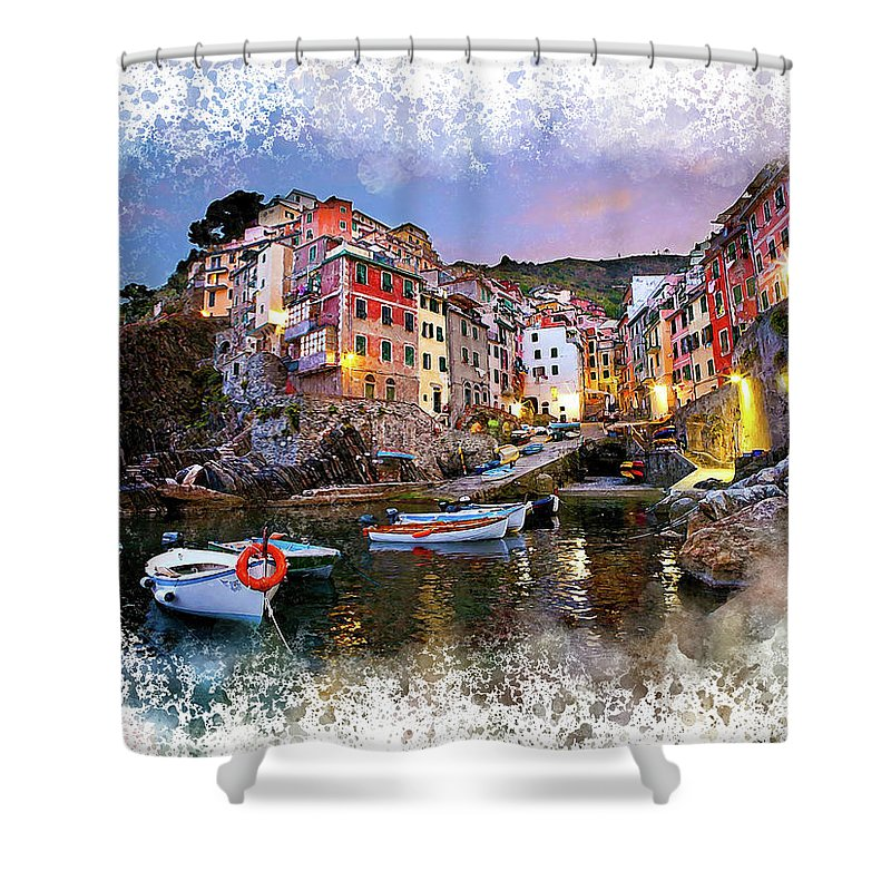 Italy Shower Curtain featuring the digital art Cinqueterre by Karl Knox Images