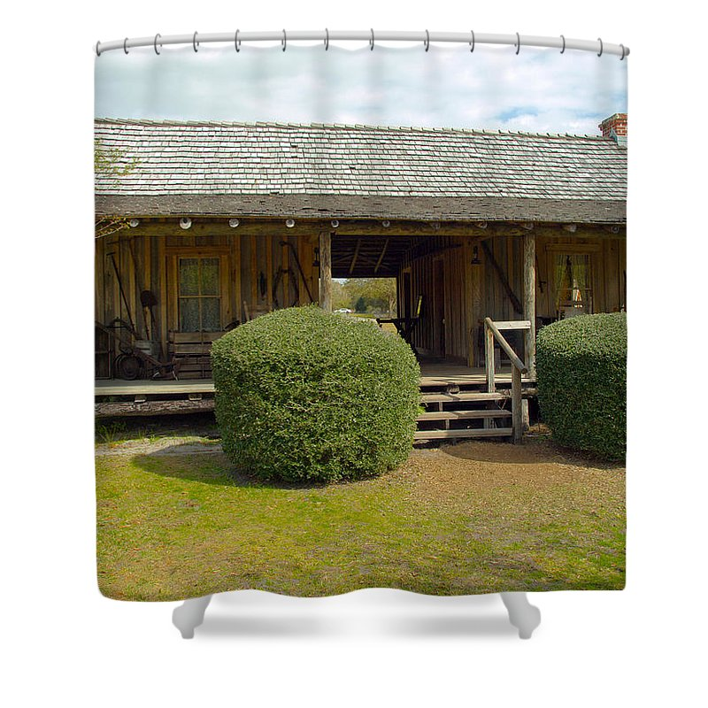Cabin Shower Curtain featuring the photograph Circa 1900 Dogtrot Cabin Of Ephriam Brown From Lake Mills Florida by Allan Hughes
