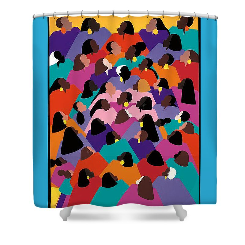 Figurative Shower Curtain featuring the painting Circle Of Promise by Synthia SAINT JAMES