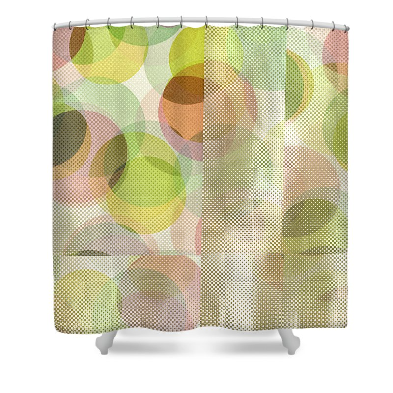 Abstract Shower Curtain featuring the digital art Circle Pattern Overlay II by Ruth Palmer