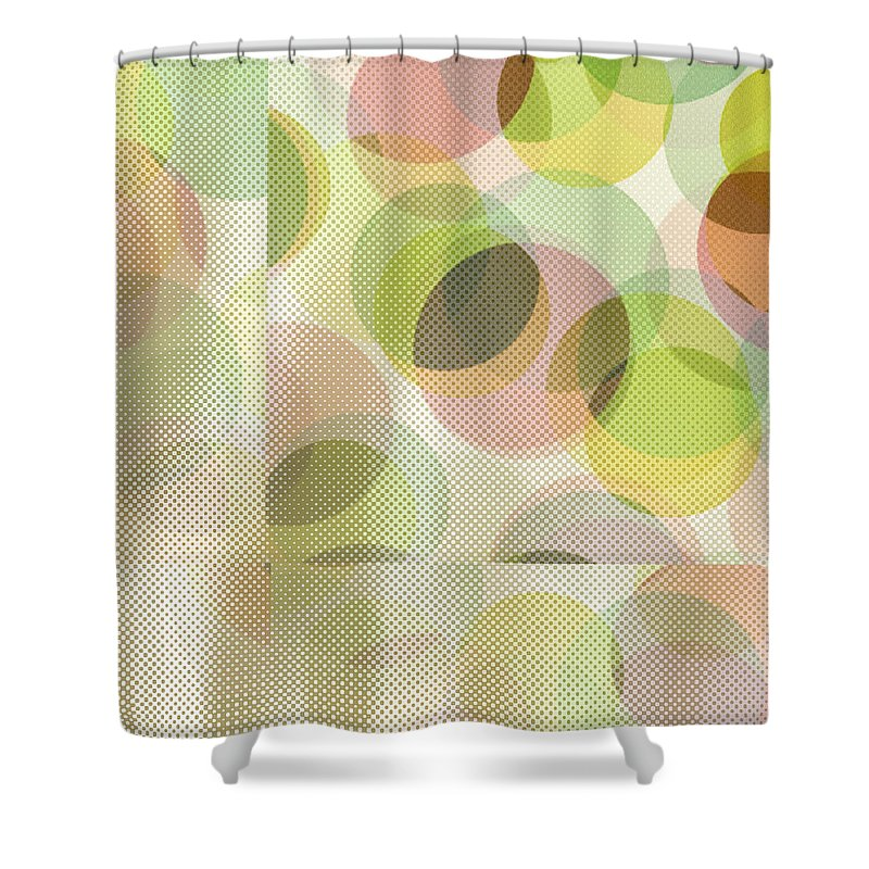 Abstract Shower Curtain featuring the digital art Circle Pattern Overlay by Ruth Palmer