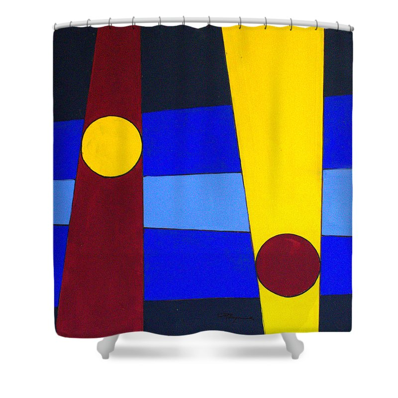 Abstract Shower Curtain featuring the painting Circles Lines Color by J R Seymour