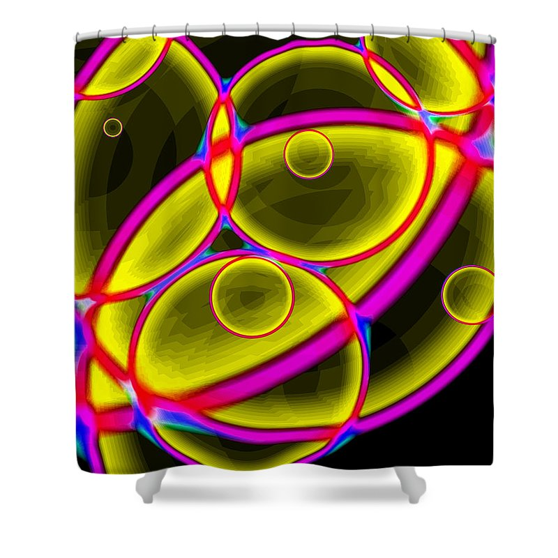 Geometry Shower Curtain featuring the digital art Circles by Lola Connelly