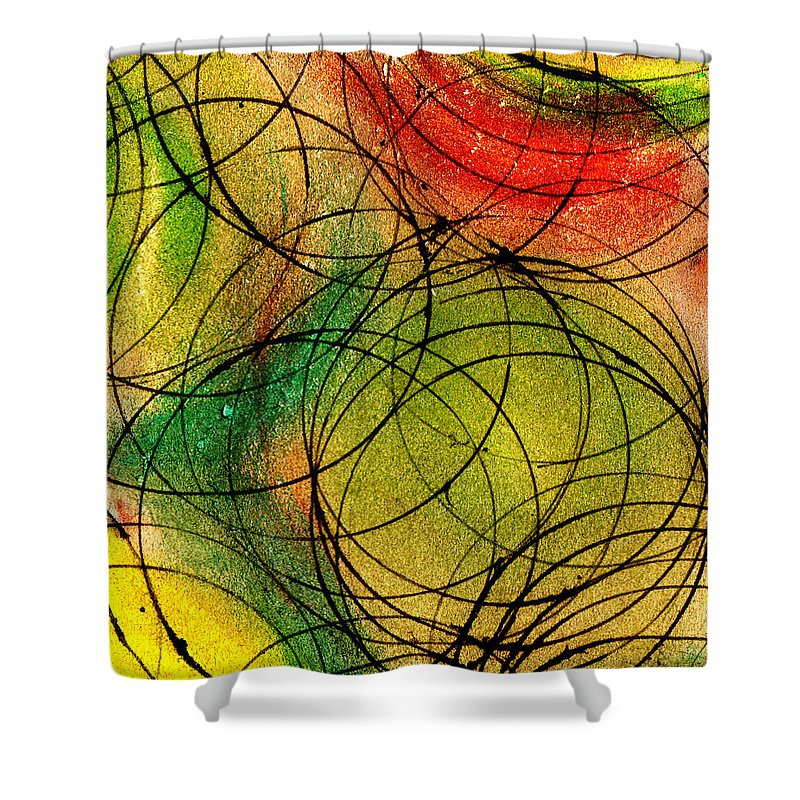 Abstract Shower Curtain featuring the painting Circles by Wayne Potrafka