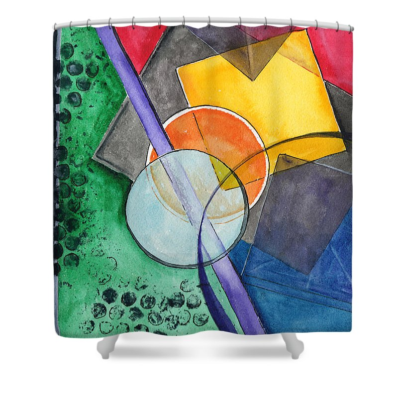 Watercolor Shower Curtain featuring the painting Circular Confusion by Brenda Owen