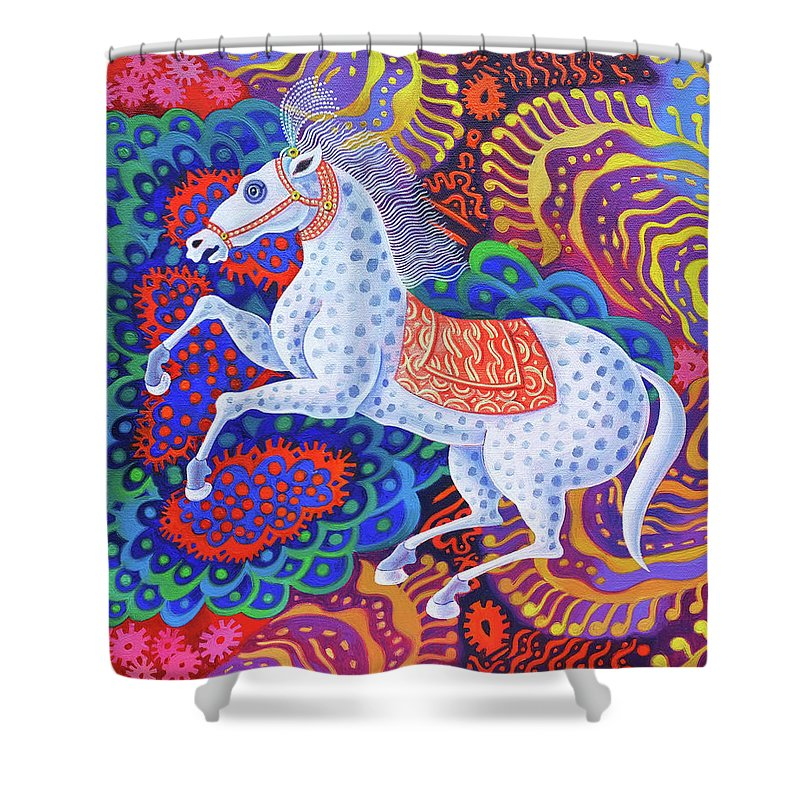 Horse Shower Curtain featuring the painting Circus Horse by Jane Tattersfield