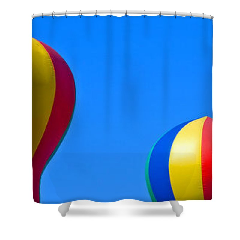 Red; Green; Yellow; Blue; Pillow; Sky; Circus; Carnival; Country; Fair; Ball; Balloon; Colors; Color Shower Curtain featuring the photograph Circus In The Sky - One by Allan Hughes