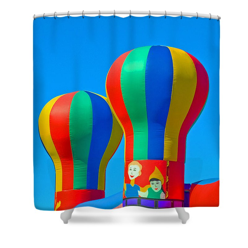 Pillow; Sky; Circus; Carnival; Country; Fair; Ball; Balloon; Colors; Colorful; Bounce; House; Castle Shower Curtain featuring the photograph Circus In The Sky - Three by Allan Hughes