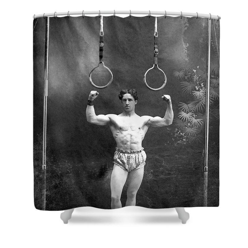 1885 Shower Curtain featuring the photograph Circus Strongman, 1885 by Granger
