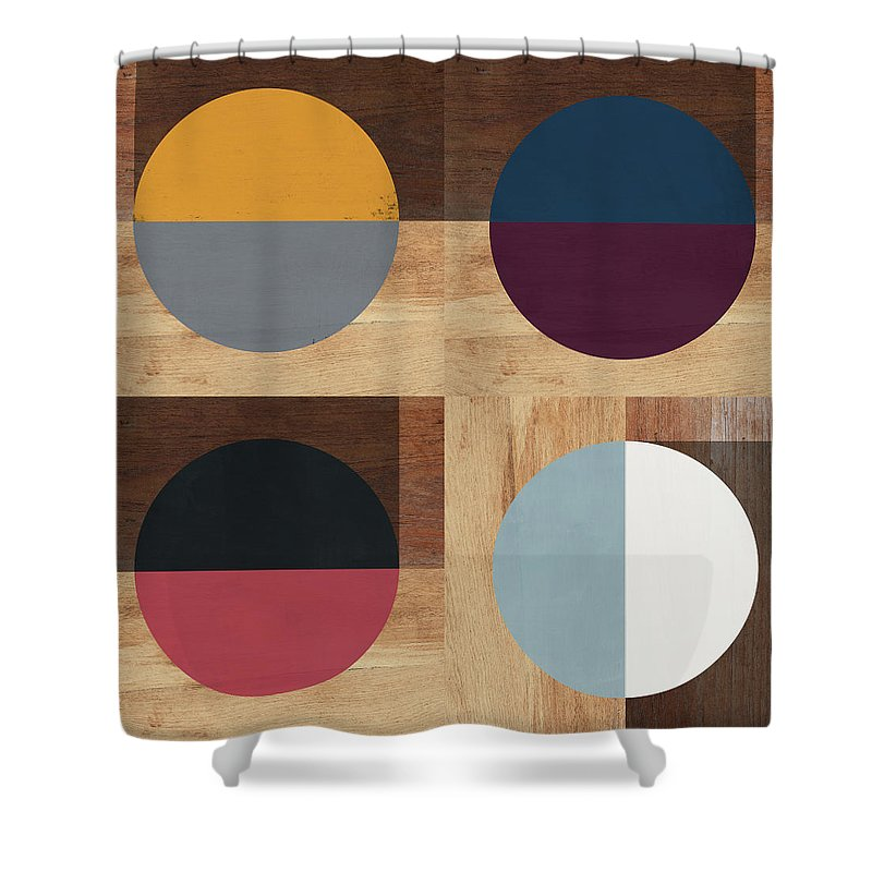 Modern Shower Curtain Featuring The Mixed Media Cirkel Quad Art By Linda Woods