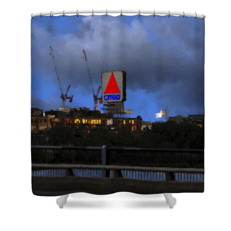 Citgo Sign Shower Curtain featuring the digital art Citgo Sign by Edward Cardini