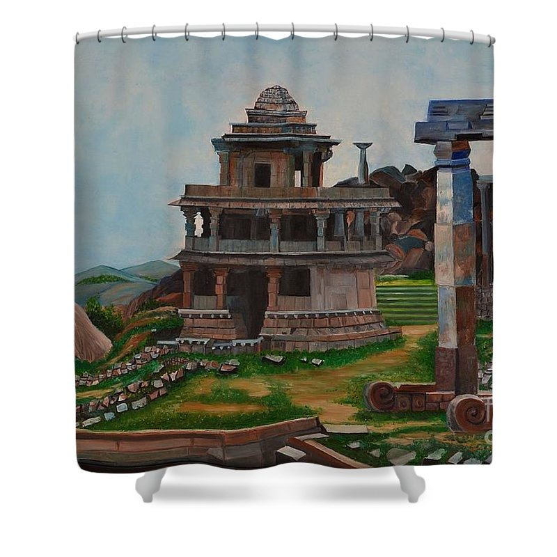 Landscape Shower Curtain featuring the painting Cithradurga Fort by Usha Rai