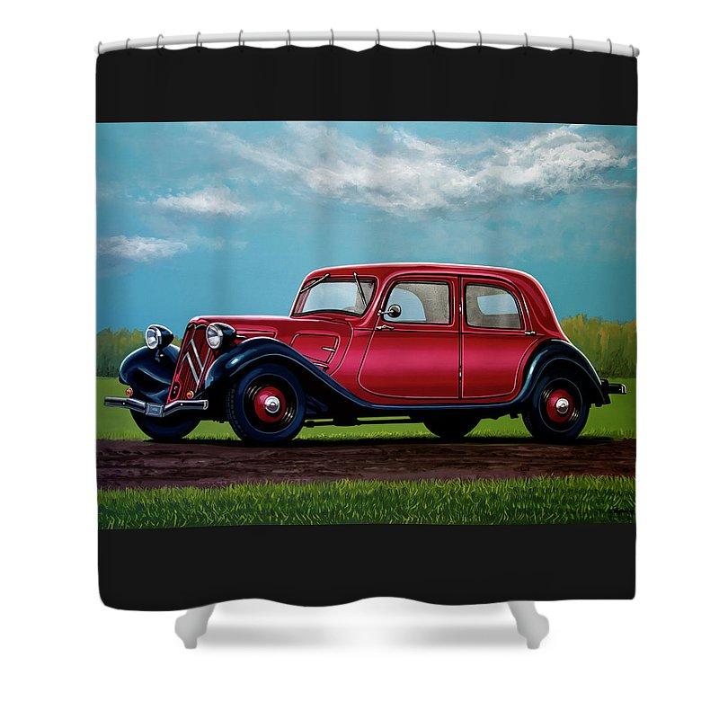 Citroen Traction Avant Shower Curtain featuring the painting Citroen Traction Avant 1934 Painting by Paul Meijering