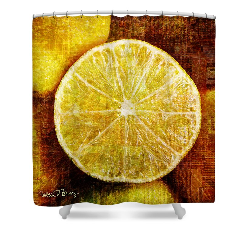 Lime Shower Curtain featuring the digital art Citrus by Barbara Berney