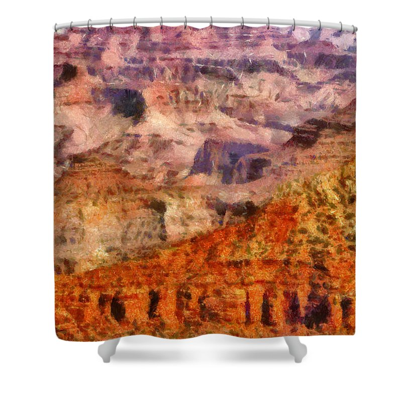 Savad Shower Curtain featuring the photograph City - Arizona - Grand Canyon - Kabob Trail by Mike Savad
