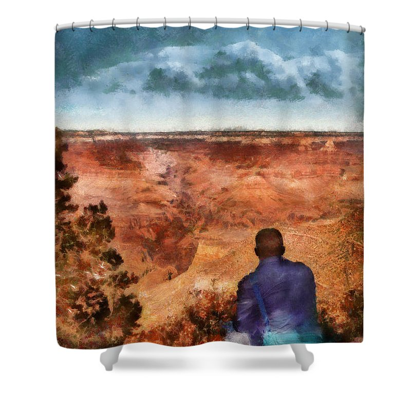 Air Service Command Shower Curtain featuring the photograph City - Arizona - Grand Canyon - The Vista by Mike Savad