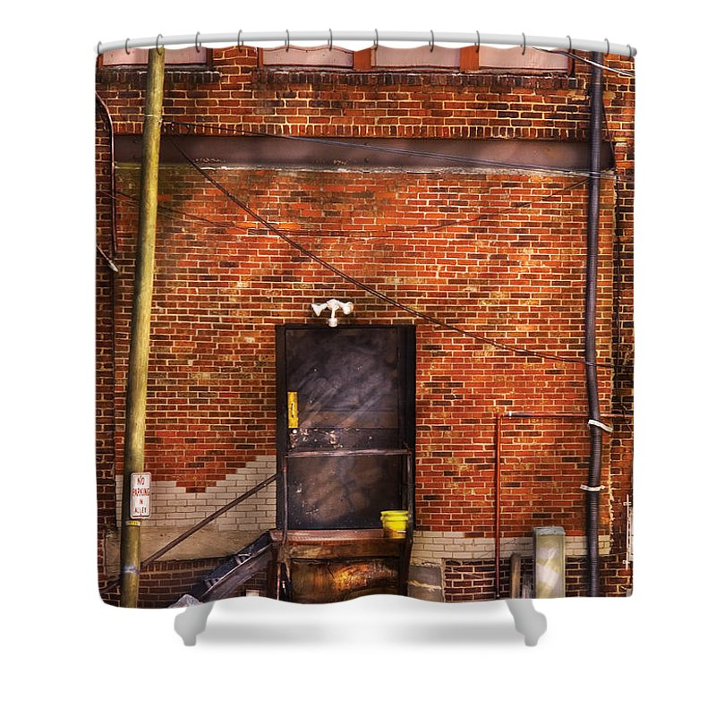 Savad Shower Curtain featuring the photograph City - Door - The Back Door by Mike Savad