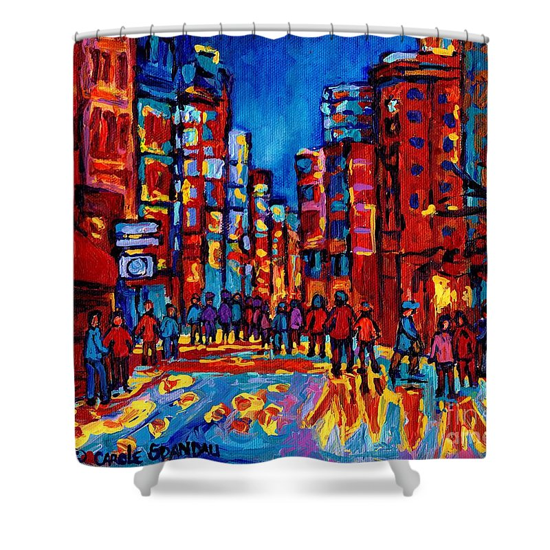 Montreal Shower Curtain featuring the painting City After The Rain by Carole Spandau