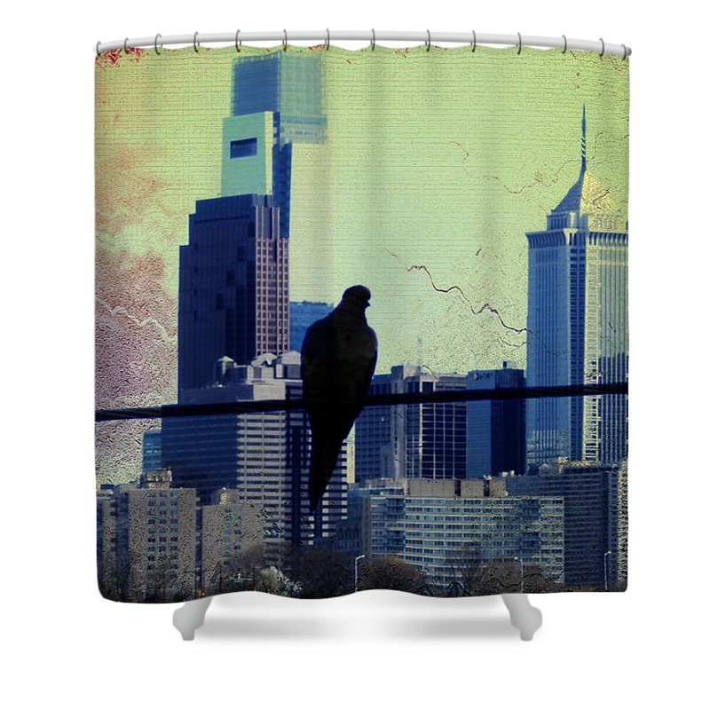 Philadelphia Shower Curtain featuring the photograph City Bird by Bill Cannon