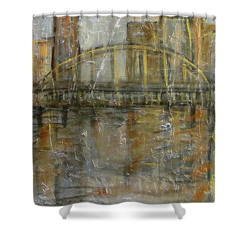 Bridge Shower Curtain featuring the painting City Bridge by Anita Burgermeister
