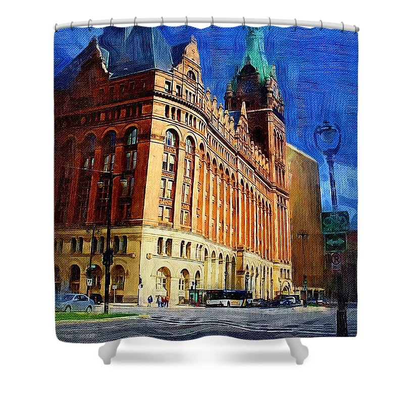 Architecture Shower Curtain featuring the digital art City Hall And Lamp Post by Anita Burgermeister