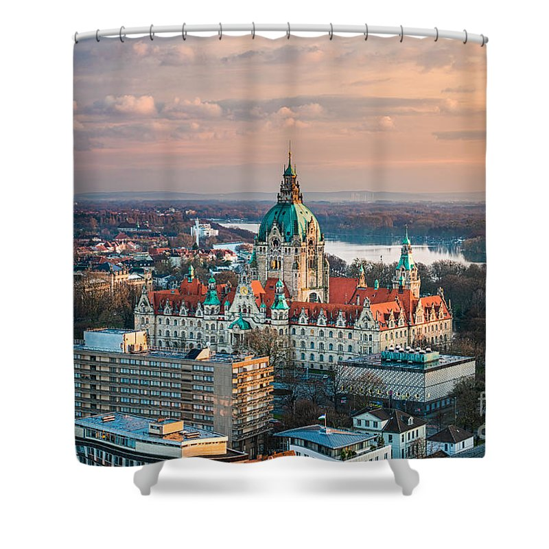Aerial Shower Curtain featuring the photograph City Hall Of Hannover, Germany by Michael Abid