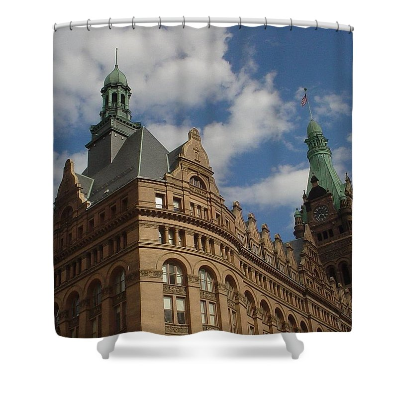 Milwaukee Shower Curtain featuring the photograph City Hall Roof And Tower by Anita Burgermeister
