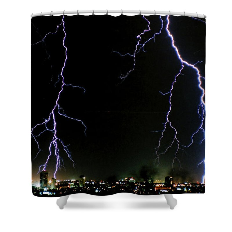 Arizona Shower Curtain featuring the photograph City Lights by Cathy Franklin