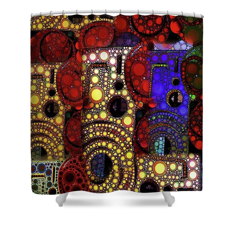 Abstract Shower Curtain featuring the digital art City Lights by Ron Bissett