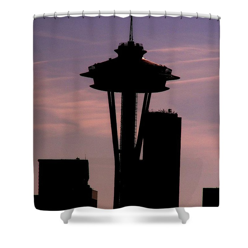 Seattle Shower Curtain featuring the digital art City Needle by Tim Allen